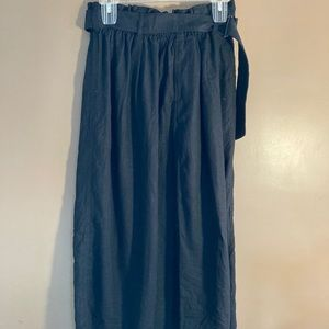NWT Uniqlo linen rayon blend black belted skirt